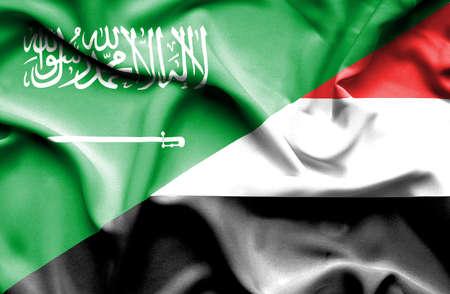saudi arabia: Waving flag of Yemen and Saudi Arabia