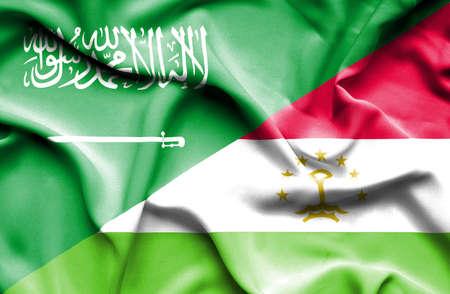 saudi arabia: Waving flag of Tajikistan and Saudi Arabia