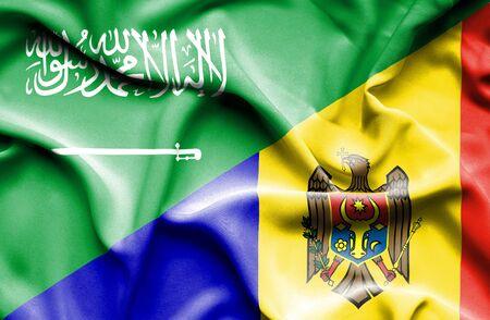 moldavia: Waving flag of Moldavia and Saudi Arabia Stock Photo
