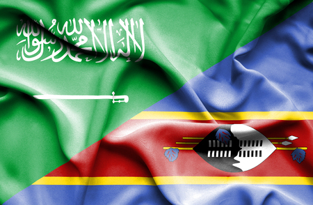 arabia: Waving flag of Swazliand and Saudi Arabia