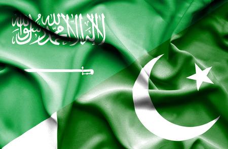 arabia: Waving flag of Pakistan and Saudi Arabia