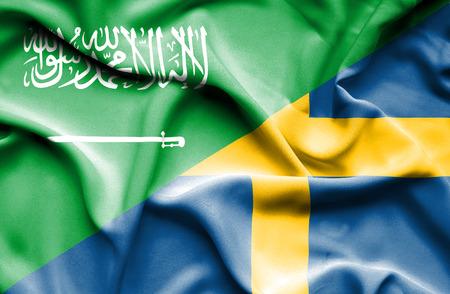 saudi arabia: Waving flag of Sweden and Saudi Arabia