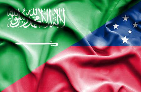 saudi arabia: Waving flag of Samoa and Saudi Arabia