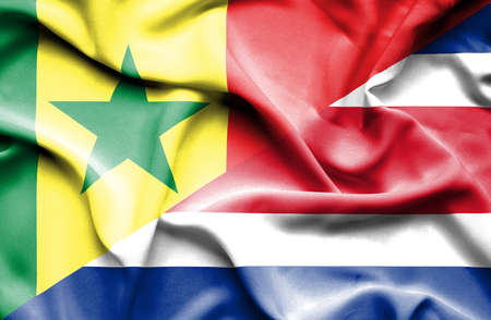 costa rica: Waving flag of Costa Rica and Senegal