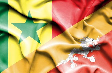 bhutan: Waving flag of Bhutan and Senegal Stock Photo