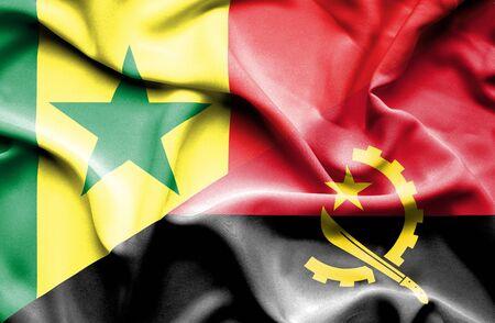 angola: Waving flag of Angola and Senegal
