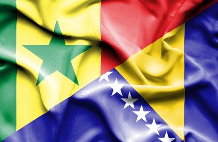 bosnia and herzegovina flag: Waving flag of Bosnia and Herzegovina and Senegal