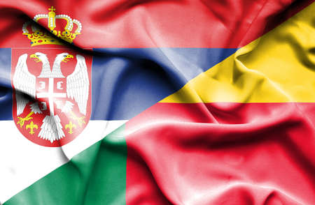 benin: Waving flag of Benin and Serbia Stock Photo