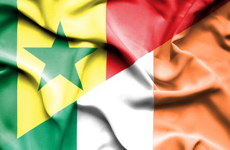 ireland flag: Waving flag of Ireland and Senegal