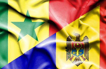 moldavia: Waving flag of Moldavia and Senegal