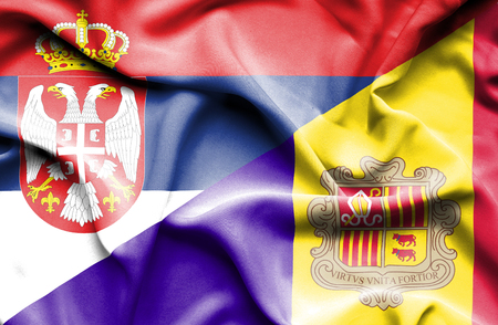 serbia: Waving flag of Andorra and Serbia Stock Photo