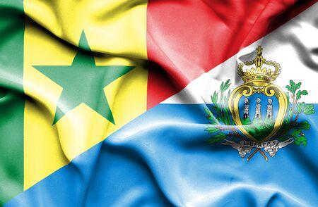 san marino: Waving flag of San Marino and Senegal