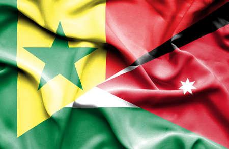 jordan: Waving flag of Jordan and Senegal