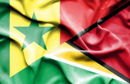 senegal: Waving flag of Guyana and Senegal