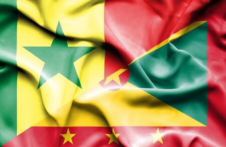 guernsey: Waving flag of Guernsey and Senegal Stock Photo