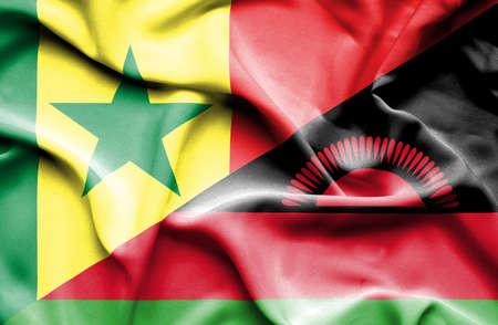 malawian flag: Waving flag of Malawi and Senegal