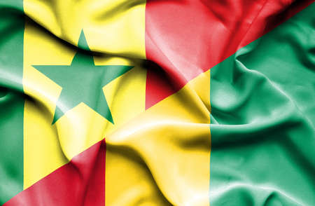senegal: Waving flag of Guinea and Senegal