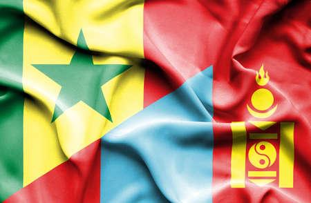 senegal: Waving flag of Mongolia and Senegal