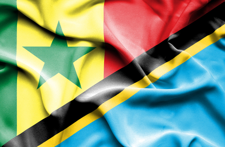 senegal: Waving flag of Tanzania and Senegal
