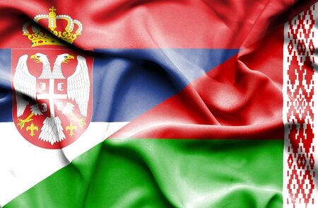 serbia: Waving flag of Belarus and Serbia