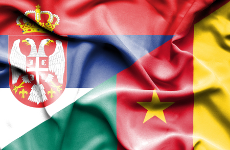 cameroon: Waving flag of Cameroon and Serbia