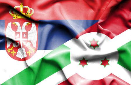 burundi: Waving flag of Burundi and Serbia