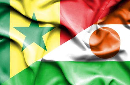 senegal: Waving flag of Niger and Senegal