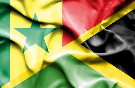 senegal: Waving flag of Jamaica and Senegal