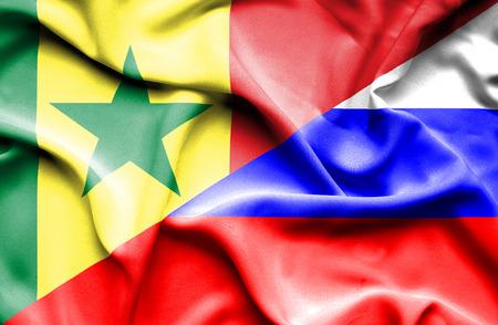 senegal: Waving flag of Russia and Senegal
