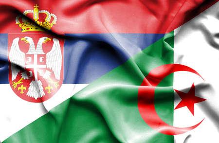 serbia: Waving flag of Algeria and Serbia