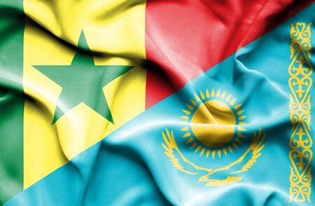 kazakhstan: Waving flag of Kazakhstan and Senegal