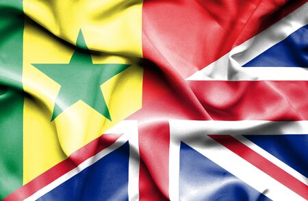 united kingdom: Waving flag of United Kingdom and Senegal