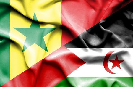 senegal: Waving flag of Western Sahara and Senegal