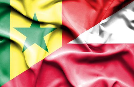 senegal: Waving flag of Poland and Senegal