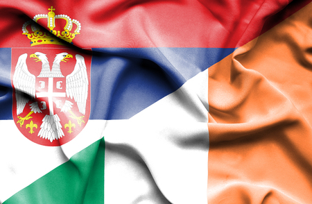 serbia: Waving flag of Ireland and Serbia