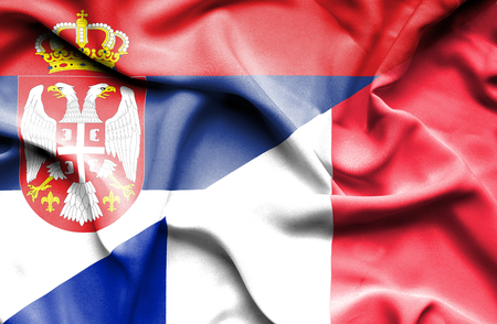 serbia: Waving flag of France and Serbia
