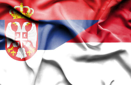 serbia: Waving flag of Indonesia and Serbia Stock Photo