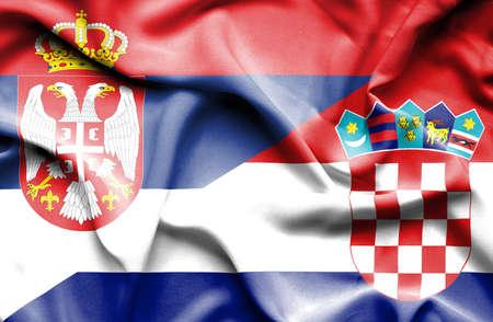 serbia: Waving flag of Croatia and Serbia Stock Photo