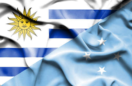 micronesia: Waving flag of Micronesia and Uruguay