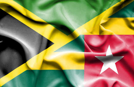 togo: Waving flag of Togo and Jamaica