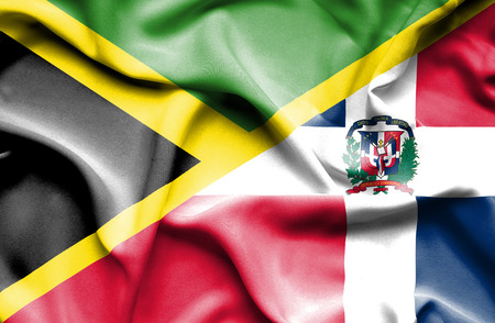 dominican republic: Waving flag of Dominican Republic and Jamaica Stock Photo