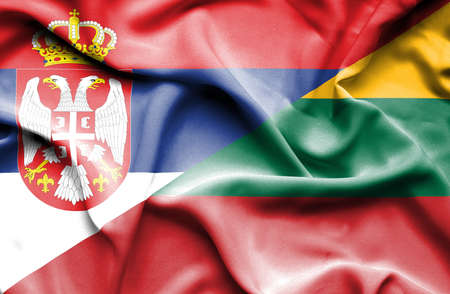 serbia: Waving flag of Lithuania and Serbia