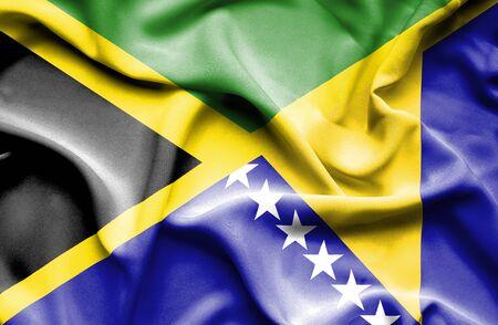 herzegovina: Waving flag of Bosnia and Herzegovina and Jamaica