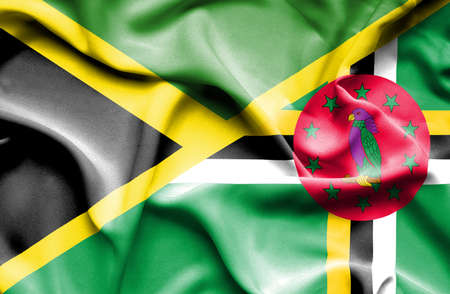 dominica: Waving flag of Dominica and Jamaica