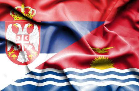 kiribati: Waving flag of Kiribati and Serbia