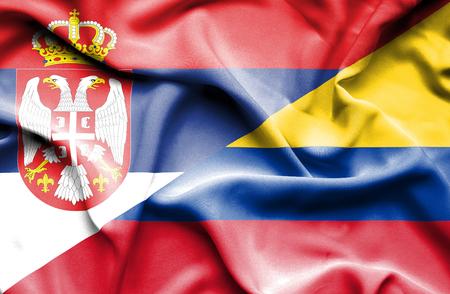 serbia: Waving flag of Columbia and Serbia Stock Photo