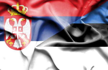 estonia: Waving flag of Estonia and Serbia