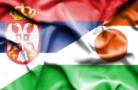 serbia: Waving flag of Niger and Serbia