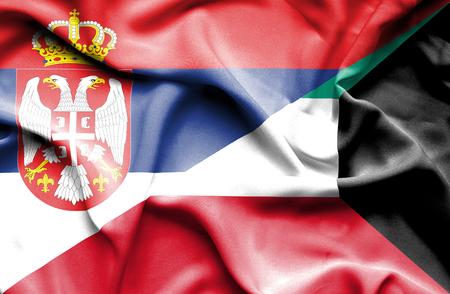 serbia: Waving flag of Kuwait and Serbia