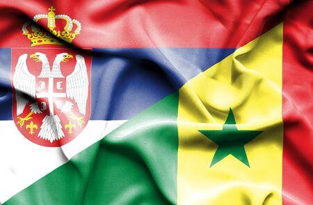 senegal: Waving flag of Senegal and Serbia